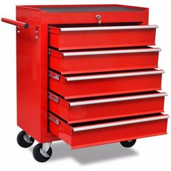 Czerwony wózek narzędziowy/warsztatowy z 5 szufladami