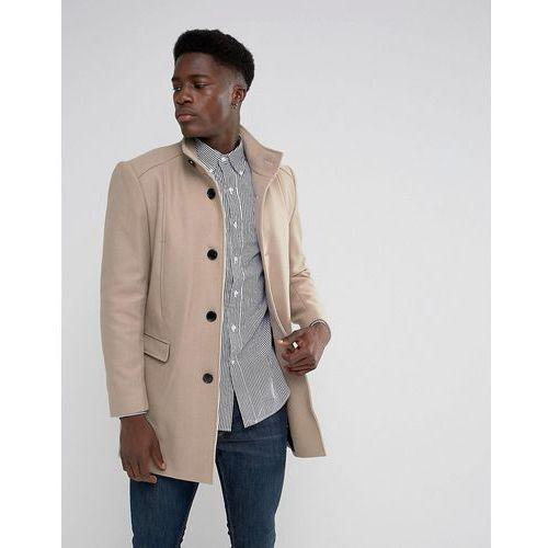 Płaszcze męskie, Selected Homme Funnel Neck Wool Mix Overcoat - Beige