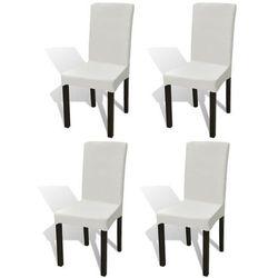 vidaXL Elastyczne pokrowce na krzesło w prostym stylu kremowe 4 szt. Darmowa wysyłka i zwroty