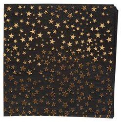 """Serwetki """"Glitz x Glamour"""", czarne złote gwiazdki, 33x33 cm, 16 szt."""