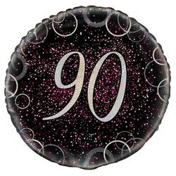Balon foliowy błyszczący różowy - 90tka - 47 cm - 1 szt.