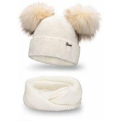 Komplet PaMaMi, czapka i komin - Ecru - Ecru