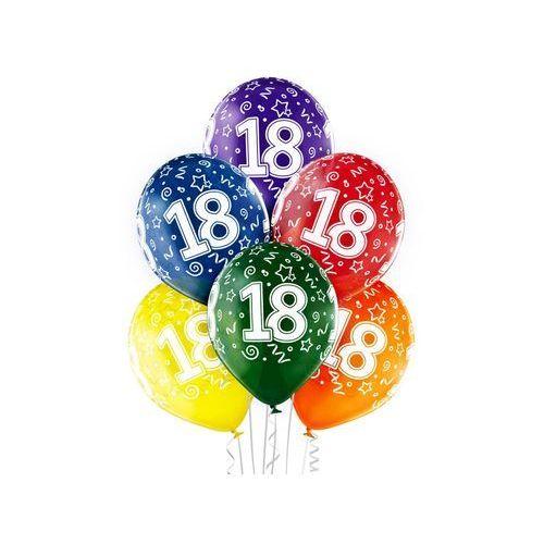 """Pozostałe wyposażenie domu, Balony transparentne z nadrukiem """"18"""" - 12 cali - 6 szt."""