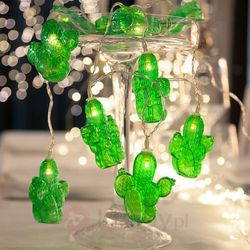 Zielony łańcuch LED na przyjęcia Cactus na baterie