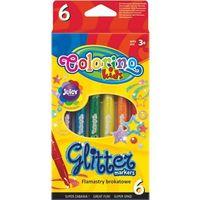 Mazaki i flamastry, Flamastry brokatowe Colorino Kis 6 kolorów - PATIO