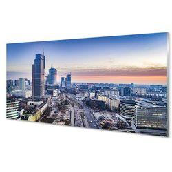 Obrazy akrylowe Warszawa Panorama wieżowce wschód słońca