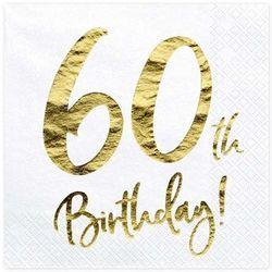 """Serwetki """"60th Birthday - złote urodziny"""", PartyDeco, białe, 33 cm, 20 szt"""
