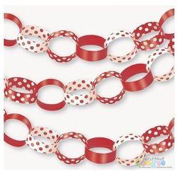 Łańcuch choinkowy czerwony w kropki - 152 cm - 1 szt.