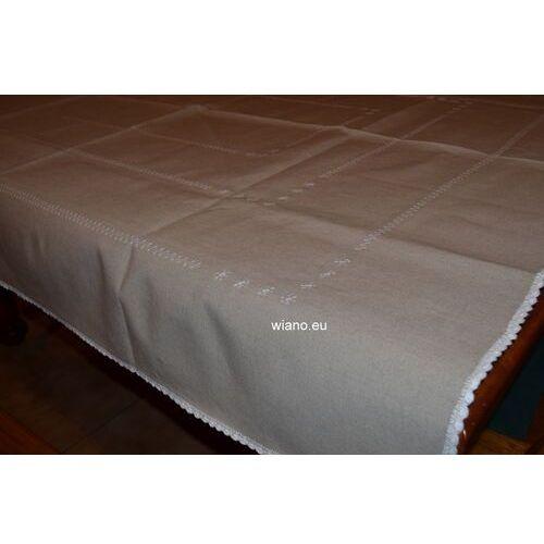 Obrusy, Obrus lniany, haftowany, haft kurpiowski, jasnoszary 170x136 (gs-1)