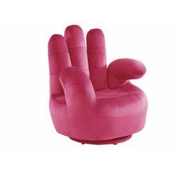 Fotel obrotowy w kształcie dłoni CATCHY z weluru - Fuksja