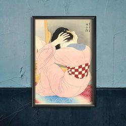 Plakat retro do salonu Plakat retro do salonu Kobieta w niebieskim czesaniu włosów