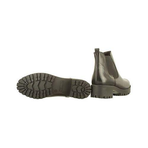 Botki, TAMARIS 25435-29 003 black leather, botki damskie