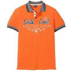 Shirt polo z efektownym zdobieniem bonprix pomarańczowy