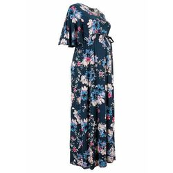 Sukienka ciążowa z dżerseju LENZING™ ECOVERO™ bonprix ciemnoniebieski w kwiaty
