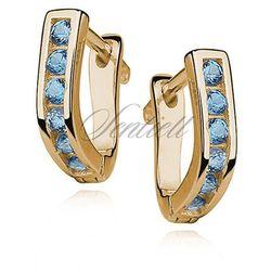 Srebrne kolczyki pr.925 złocone - czarna cyrkonia - Jasnoniebieska \ Żółte złoto
