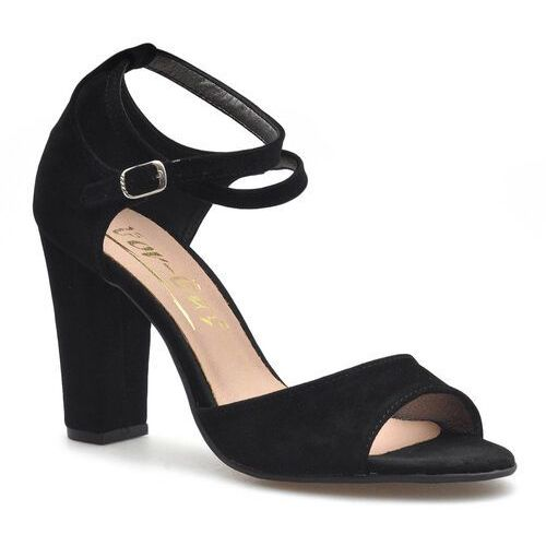 Sandały damskie, Sandały For-But 1610 Czarne zamsz