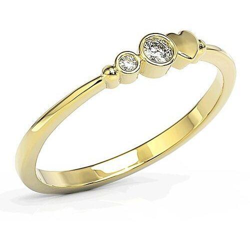 Pierścionki i obrączki, Pierścionek z żółtego złota z cyrkoniami Swarovski BP-6807Z-C - Żółte \ BP-6807Z