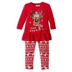 Shirt dziewczęcy bożonarodzeniowy + legginsy (2 części) bonprix czerwony