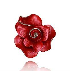 Ekskluzywna broszka w kształcie róży czerwona