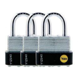 Y125/40/122/3 Zestaw trzech kłódek z jednym kluczem Yale