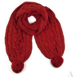 Długi miękki szalik damski z pomponami rudy / ciemny pomarańcz - rudy ||ciemny pomarańczowy Szaliki, czapki, rękawiczki (-21%)
