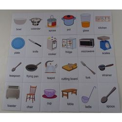 Kuchnia / akcesoria karty edukacyjne wersja w języku angielskim