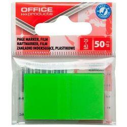 Zakładki indeksujące OFFICE PRODUCTS, PP, 25x43mm, 1x50 kart., zawieszka, zielone