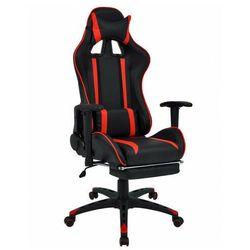 Czarno-czerwony fotel dla graczy z podnóżkiem - Coriso