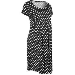 Sukienka ciążowa, krótki rękaw bonprix czarno-biały w groszki