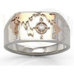 Sygnet Morski z białego i różowego złota z brylantem SJ-1406BP - Białe i różowe