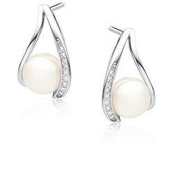 Delikatne rodowane srebrne kolczyki łezki perły perełki cyrkonie srebro 925 Z1595E