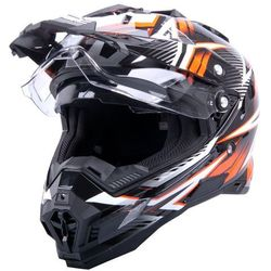 Kask motocyklowy W-TEC AP-885 graphic ENDURO + BLENDA, Czarny/pomarańczowy, XXL (63-64)