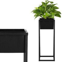 Stojak na kwiaty 60 cm z doniczką nowoczesny kwietnik loft czarny mat