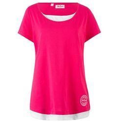 Shirt w optyce 2w1, krótki rękaw bonprix różowo-biały