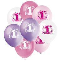 Balony, Balony pastelowe na roczek 1st Birthday Baloniki Pink - 31 cm - 8 szt.
