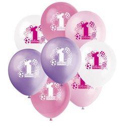 Balony pastelowe na roczek 1st Birthday Baloniki Pink - 31 cm - 8 szt.