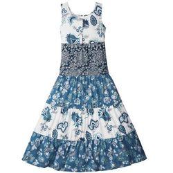 Letnia sukienka dziewczęca bonprix biel wełny - niebieski dżins - ciemnoniebieski