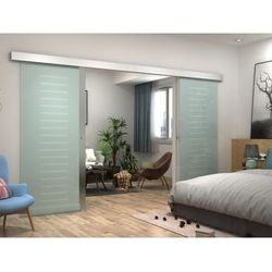 Dwuskrzydłowe drzwi przesuwne ASTANA – Wys. 205 × dł. 166 cm – Szkło hartowane