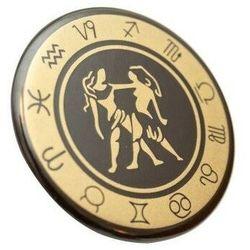 Bliźnięta - znak zodiaku - magnes. Śr. 6cm; metal emaliowany