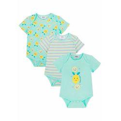 Body niemowlęce z krótkim rękawem (3 szt.), bawełna organiczna bonprix jasny miętowy - żółty