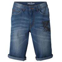 Krótkie spodenki dziecięce, Bermudy dżinsowe z wywiniętymi nogawkami bonprix niebieski