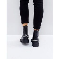 ASOS AZRA Chunky Zip Front Ankle Boots in Water Based PU - Black