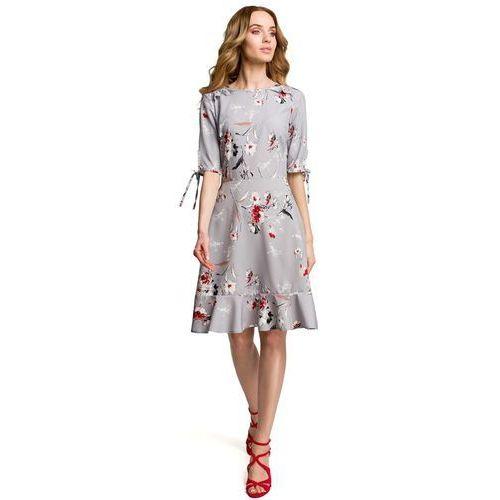 Suknie i sukienki, Szara Zwiewna Sukienka w Kwiaty z Falbankami