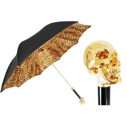Parasol Pasotti Cheetah with Golden Skull Handle, podwójny materiał, 189 52417-12 W33