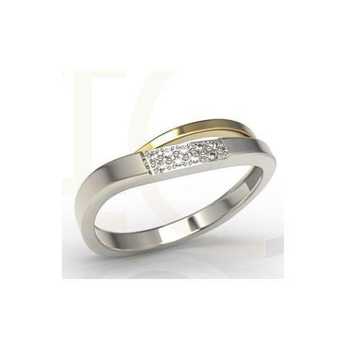 Pierścionki i obrączki, Pierścionek z białego i żółtego złota z diamentami LP-97BZ - Białe i żółte \ Diament