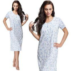 Damska koszula nocna Natalia biała z niebieskim kwiatowym wzorem