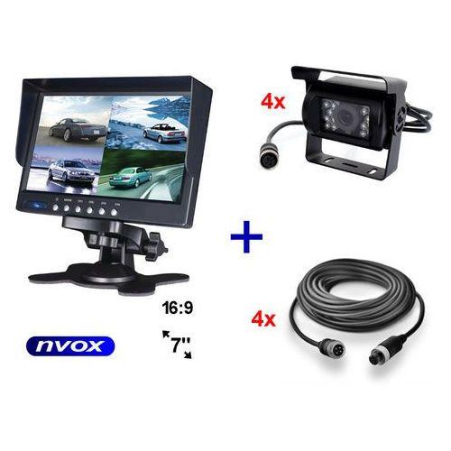 "Monitory samochodowe, NVOX HM 740 QUAD Monitor samochodowy lub wolnostojący LCD 7"" cali cofania obsługa 4 kamer 12V 24V"