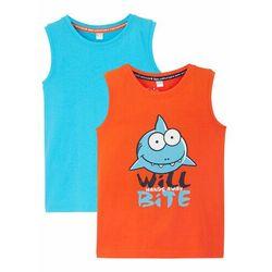 Koszulka chłopięca bez rękawów (2 szt.), bawełna organiczna bonprix ciemnopomarańczowy + niebieski karaibski