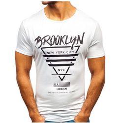 T-shirt męski z nadrukiem biały Denley KY09
