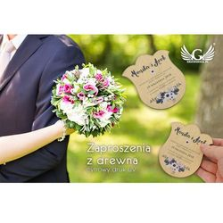 Zaproszenia ślubne z drewna - cyfrowy druk UV - ZAP007